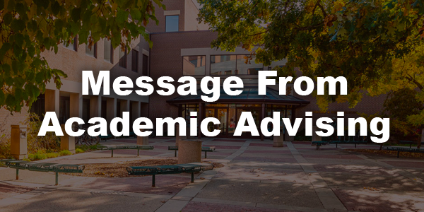Message from Academic Advising